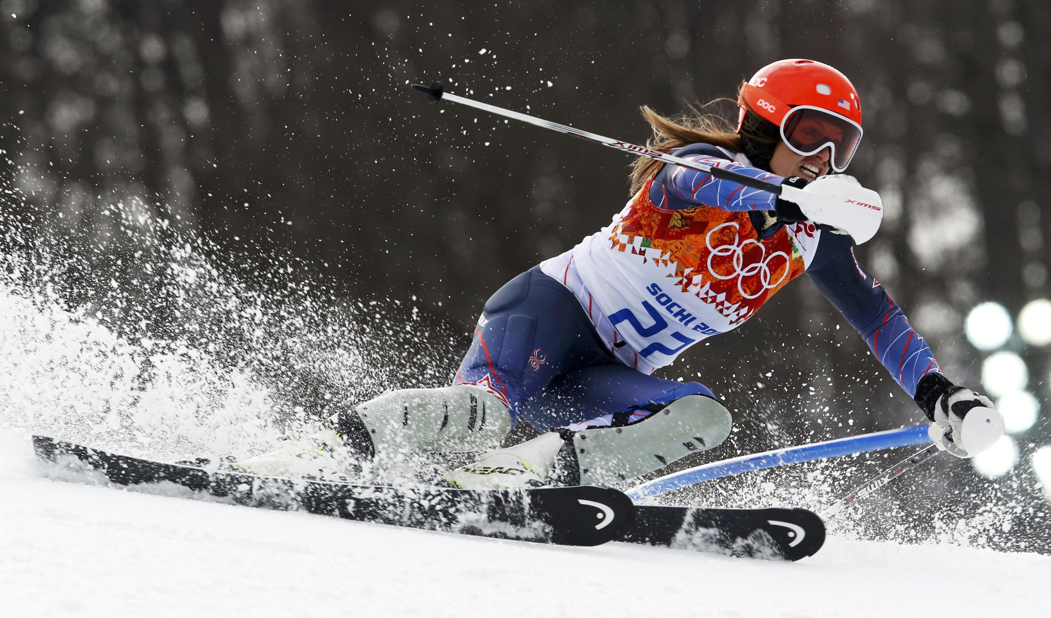Mancuso of the U.S. competes in the slalom run of the women's alpine skiing super combined event at the 2014 Sochi Winter Olympics